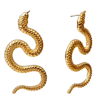 Load image into Gallery viewer, Golden Serpent Earrings