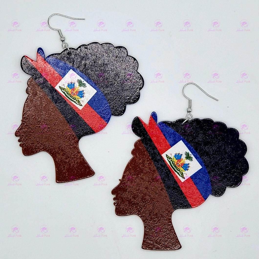 HAITIAN FLAG Bandana Lady Earrings