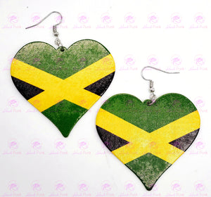 JAMAICAN FLAG HEART Earrings
