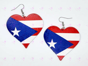PUERTO RICAN Flag Heart Earrings