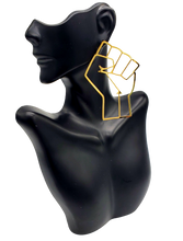 Load image into Gallery viewer, Raised Fist - Gold or Silver Outline Earrings- LARGE