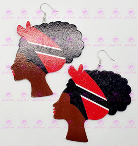 TRINIDAD and TOBAGO FLAG BANDANA LADY Earrings
