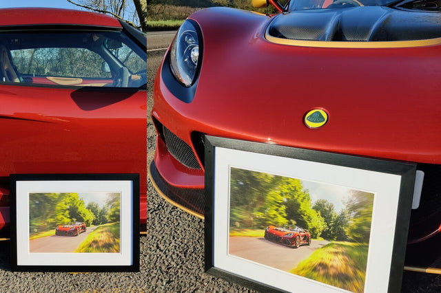 framed pictures of sports cars and supercars