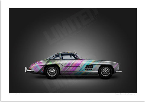 Mercedes-Benz 300 SL (technicolour on black)