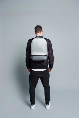 Barred Backpack // Silver