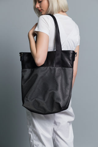 Market Tote // Mesh Overlay // Leather