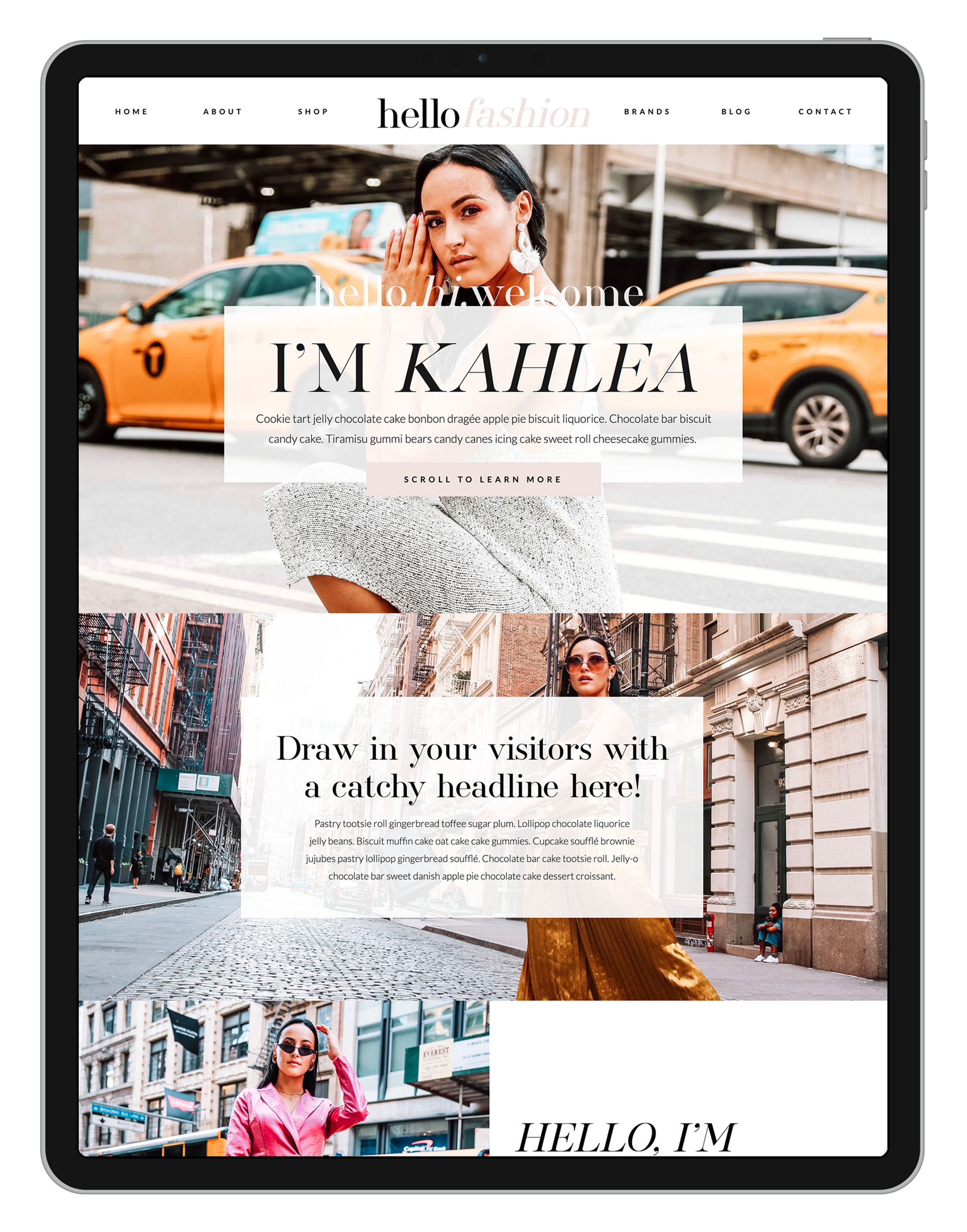 Customizable Showit Website Template for Fashion Bloggers, Digital Content Creators and Minimal Design Lovers