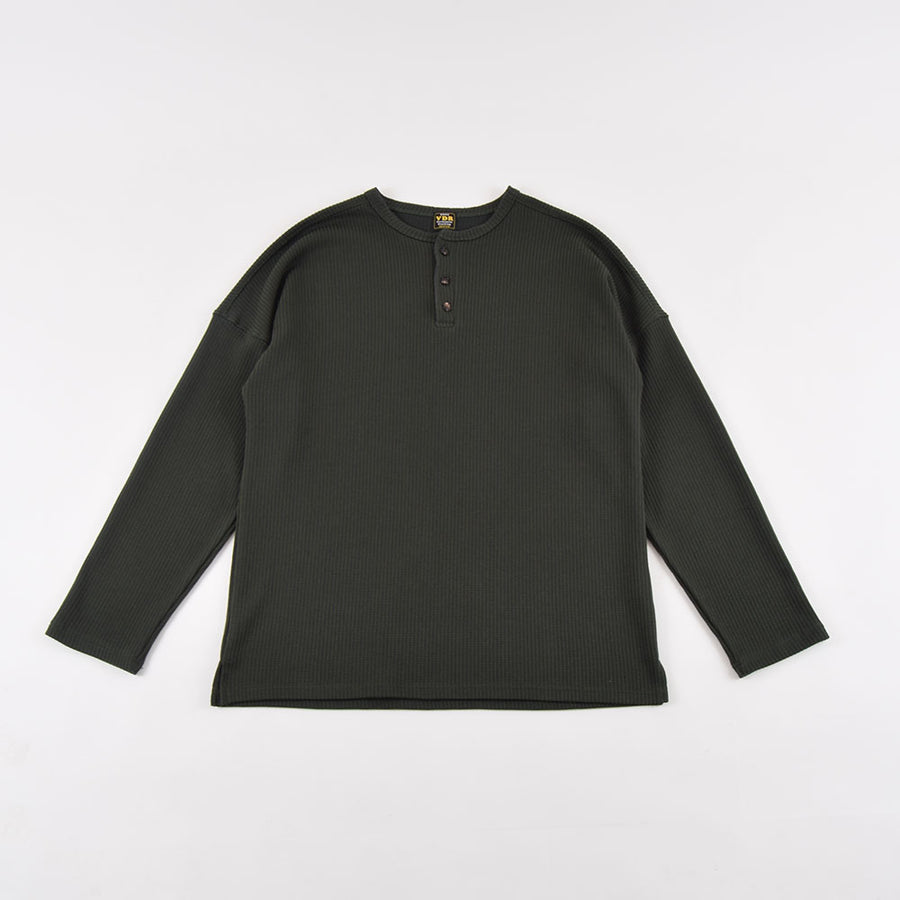 VDR Forest Green Ribbed Cozy Long Sleeve Henley Tee