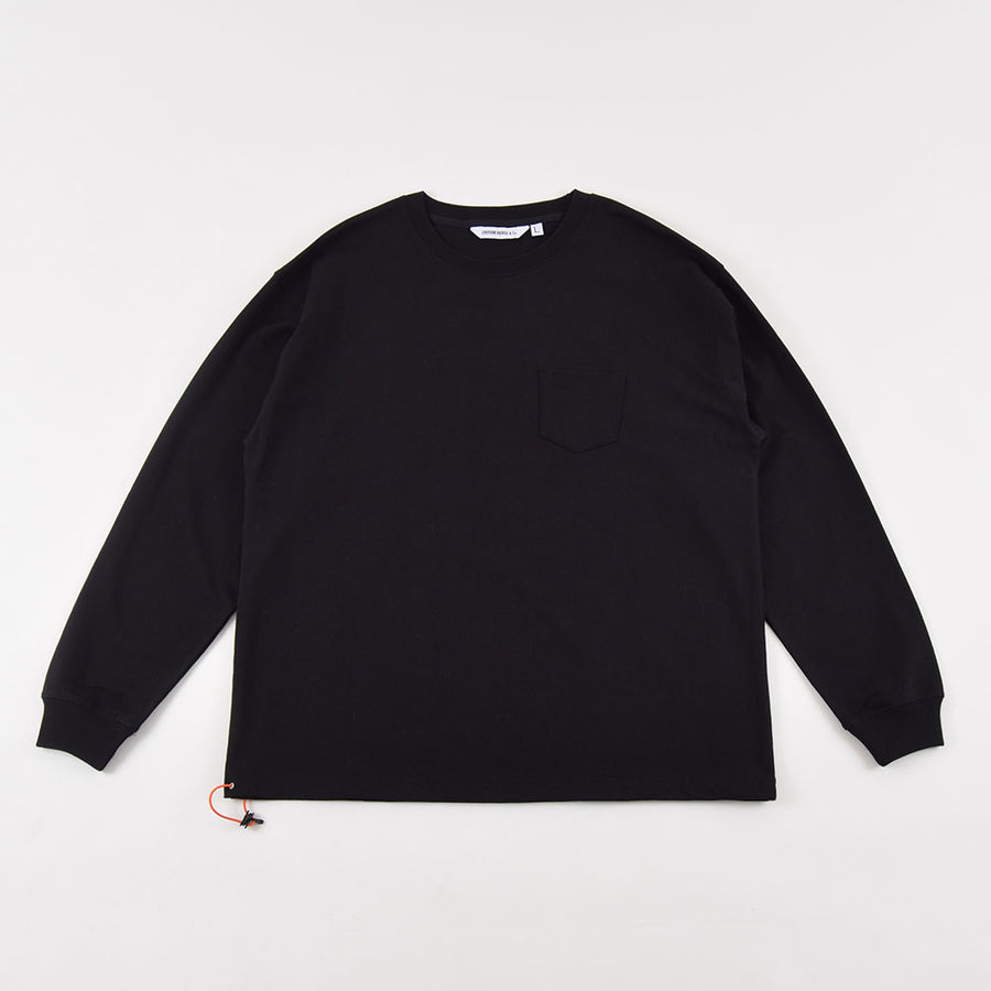 Uniform Bridge Black Long Sleeve Heavyweight Cotton Pocket Tee