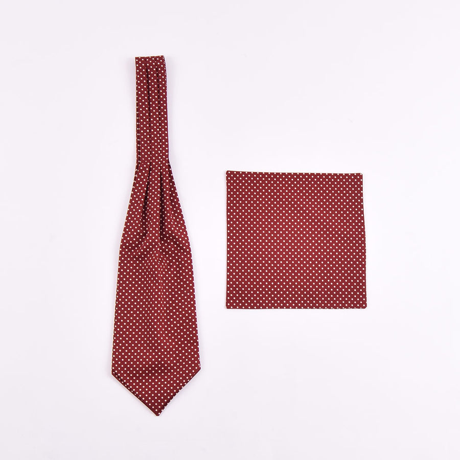 The Dapper Cravat Burgundy & Cream Polka Dot Cravat & Handkerchief