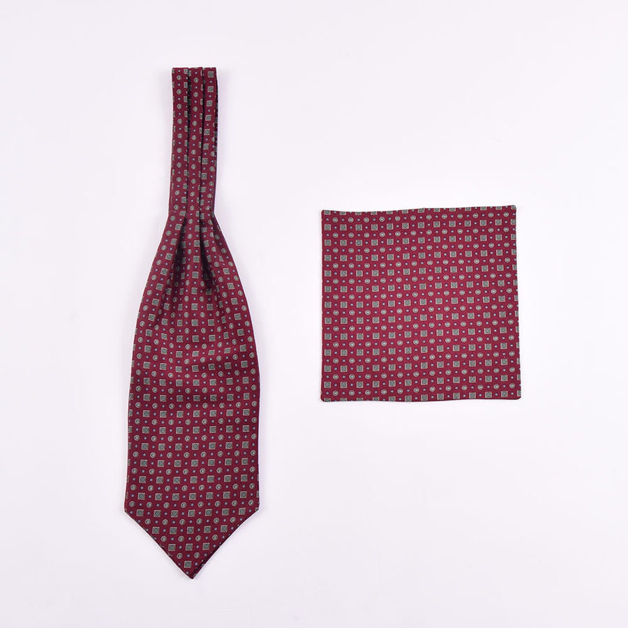 The Dapper Cravat Maroon Green & Blue Squares & Spots Cravat & Handkerchief