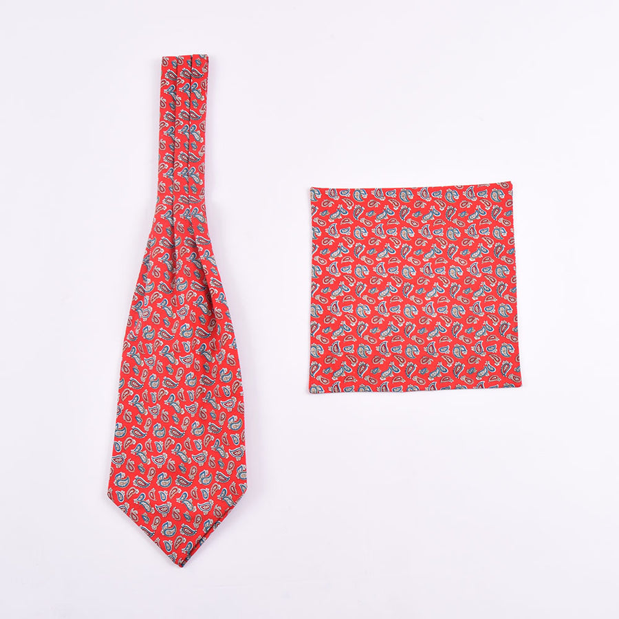 The Dapper Cravat Red & Blue Paisley Cravat & Handkerchief