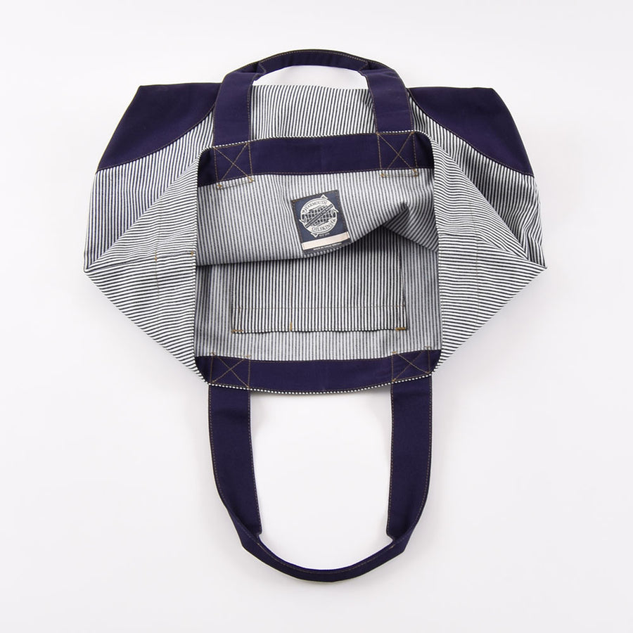 Yarmouth Oilskins Ticking Stripe & Navy Shopper Bag