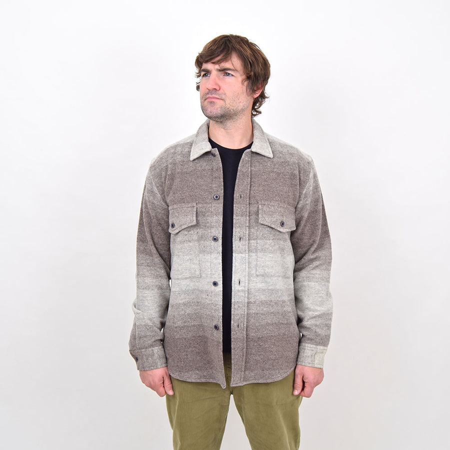 Outland Ecru Striped Wool Army Overshirt