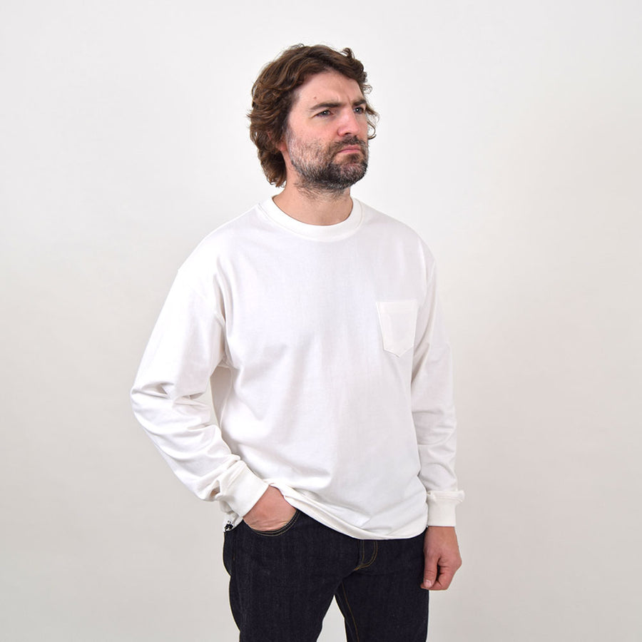Uniform Bridge Off White Long Sleeve Heavyweight Cotton Pocket Tee
