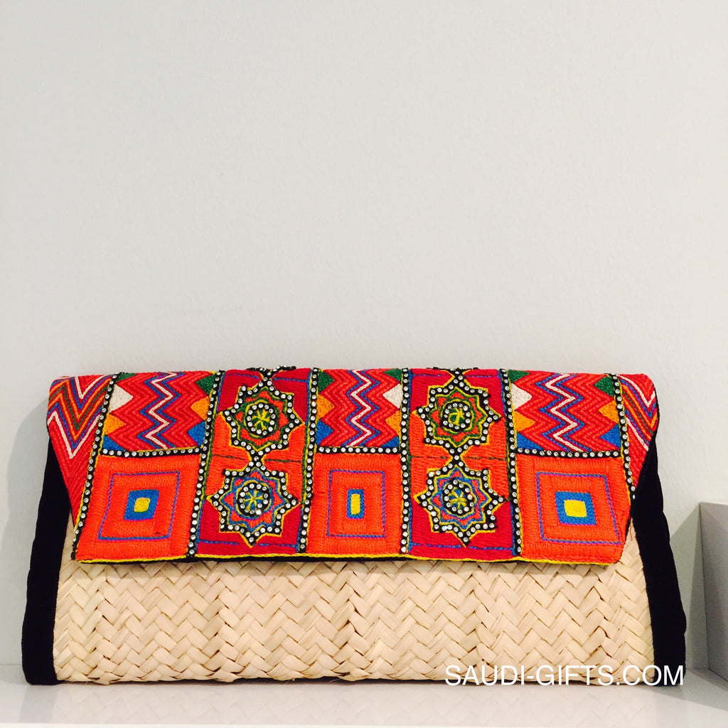 Fusion Clutch Bag with Taif Embroidery