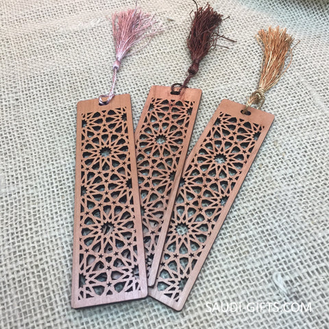 Cherry Wood Bookmarks with Islamic Geometry