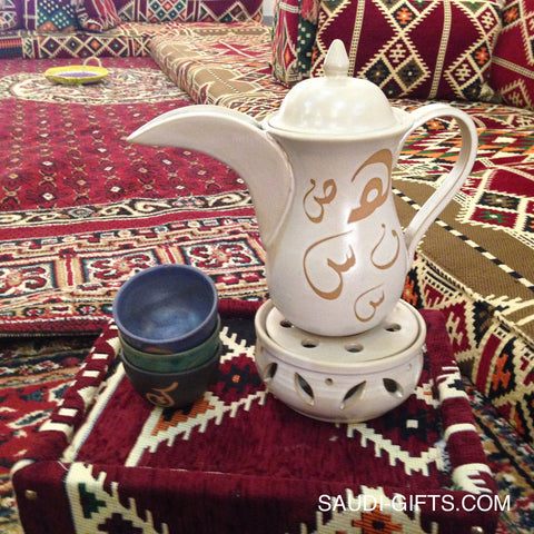 Pottery Set - Arabic Coffee Pot with Cups
