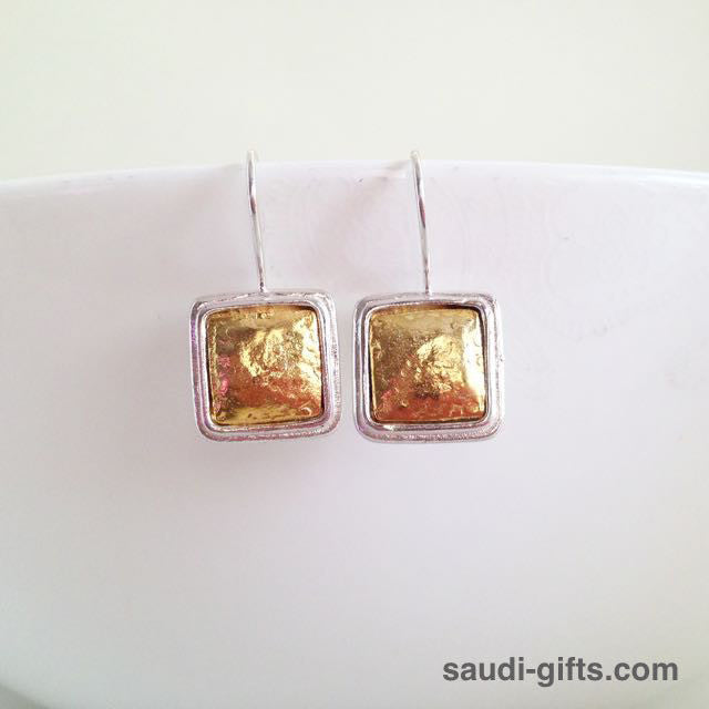 Gold Earrings with Silver Trim