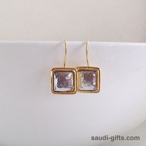 Silver Earrings with Gold Trim