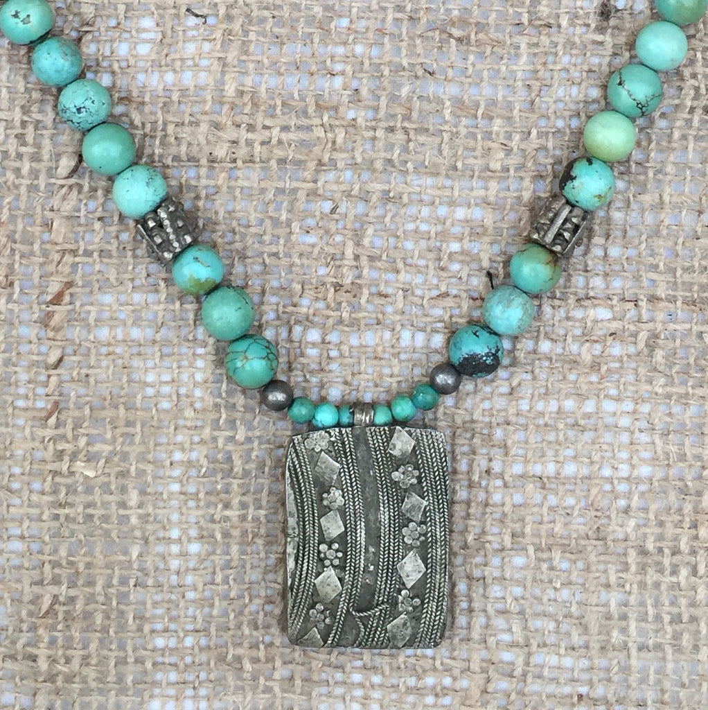 Necklace with Antique Bedouin Pendant and Turquoise