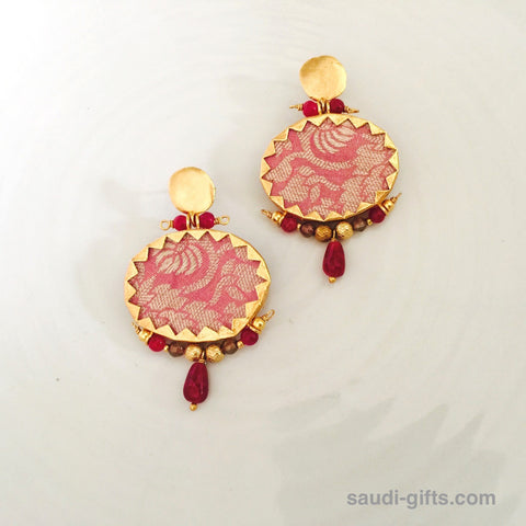 Earrings Brocade Pink