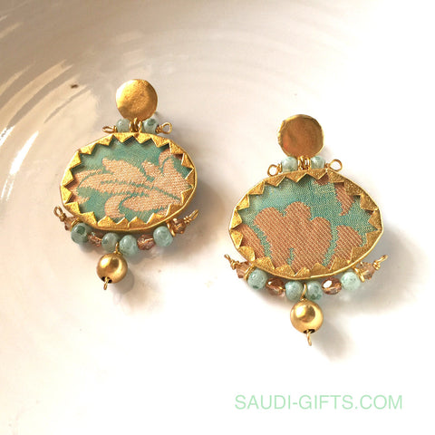 Earrings Brocade Green