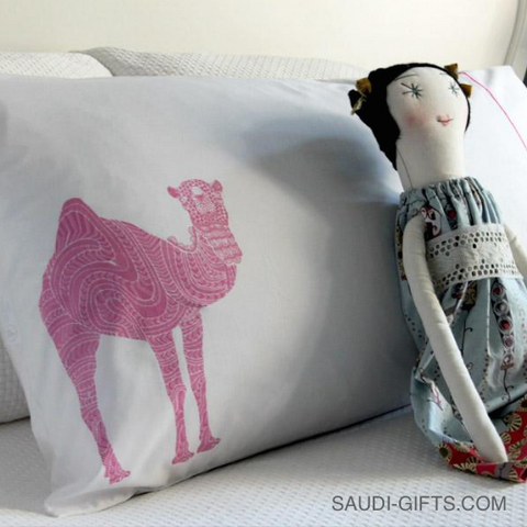100% Cotton Pillow Case with Camel