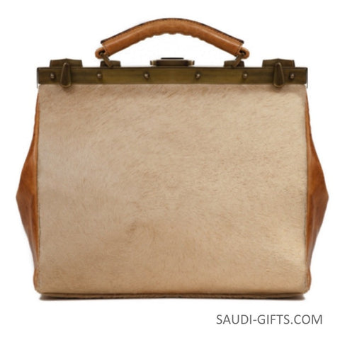 Luxury Camel Leather Weekend Bag