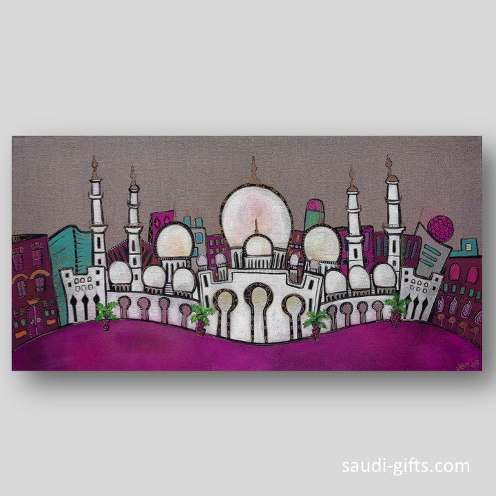 """The Grand Mosque"" Limited Edition print - magenta"