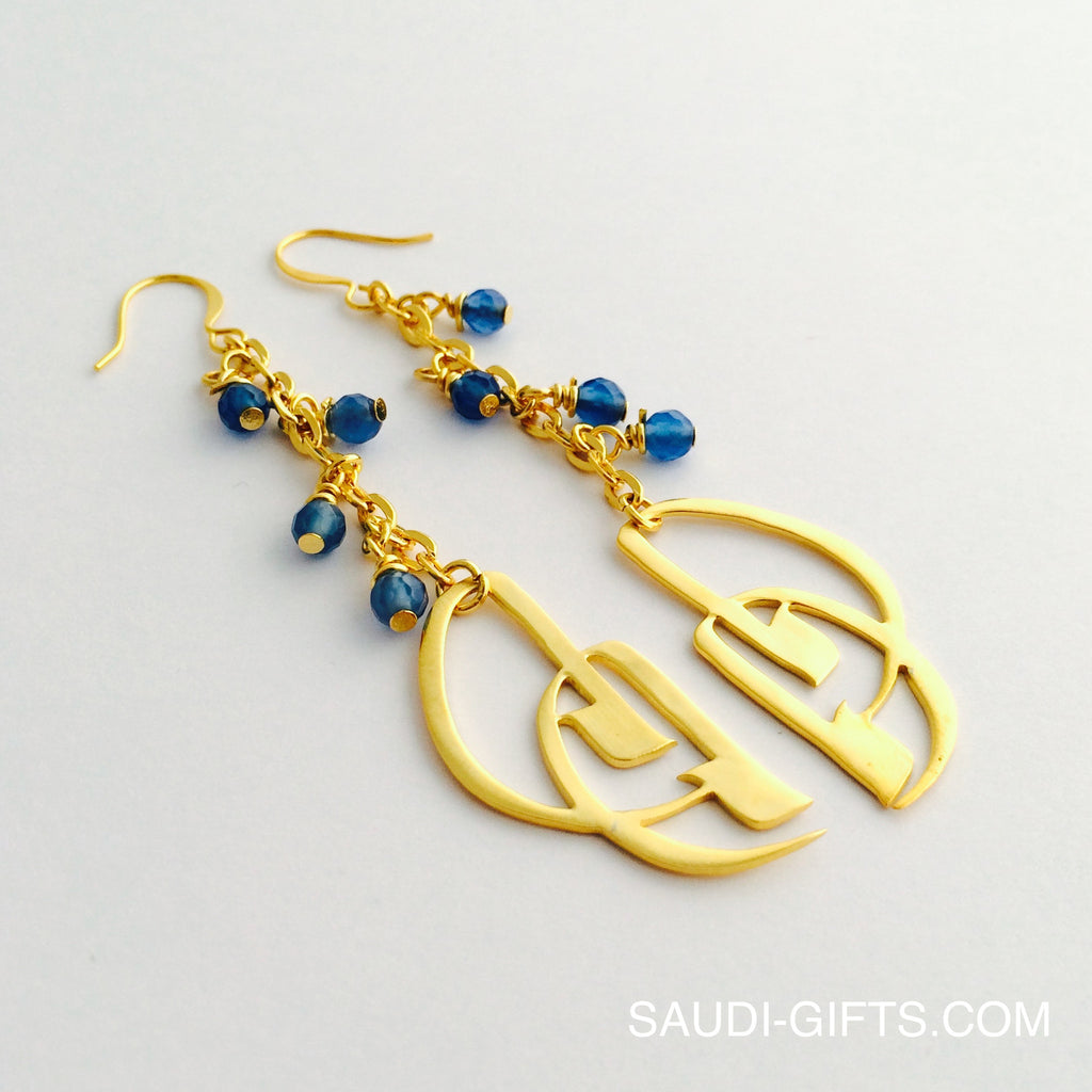 Earrings 'Mama' with Blue Agate