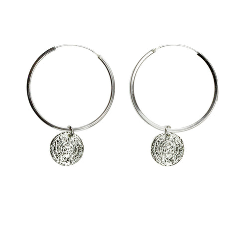 Coin earrings with Rumi poetry