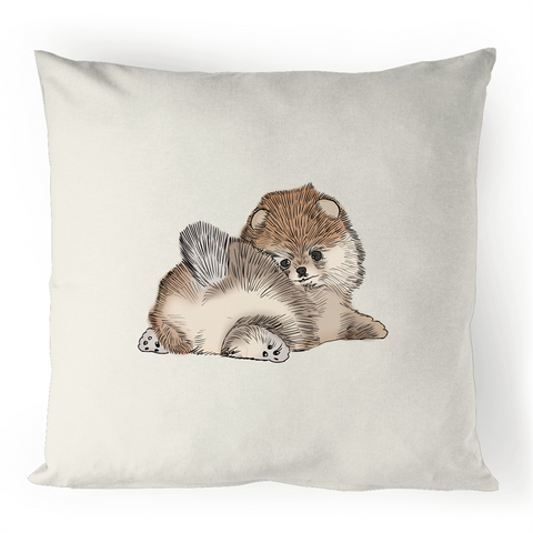 Pomeranian Puppy 100% Linen Cushion Cover - PomWorld.Com