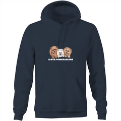 I LOVE Pomeranians Pocket Hoodie Sweatshirt - PomWorld.Com