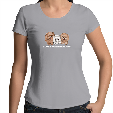 I LOVE Pomeranians Womens Scoop Neck T-Shirt - PomWorld.Com