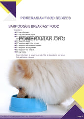 Pomeranian Food Recipes. 60 page eBook. Instant Download. - PomWorld.Com
