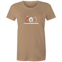 I LOVE Pomeranians Women's Maple Tee - PomWorld.Com