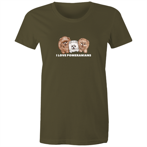 I LOVE Pomeranians Women's Maple Tee