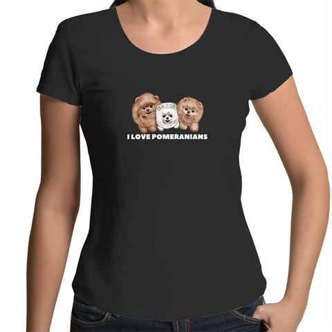 I LOVE Pomeranians Womens Scoop Neck T-Shirt