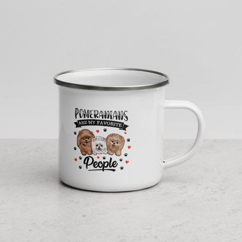 Pomeranians Are My Favorite People Enamel Mug