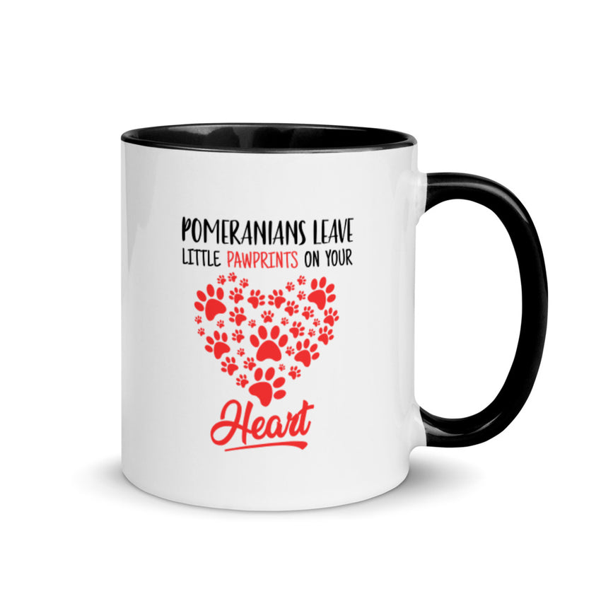 Pomeranians Leave Little Pawprints on Your Heart Mug with Color Inside - PomWorld.Com