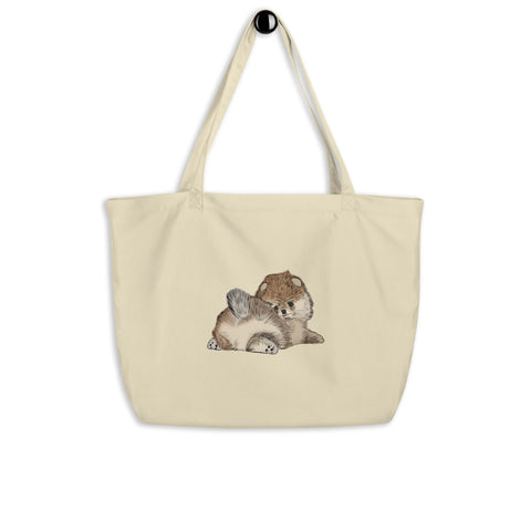 Pomeranian Puppy Large organic tote bag - PomWorld.Com