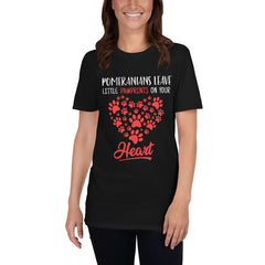 Pomeranians Leave Little Pawprints on Your Heart Short-Sleeve Unisex T-Shirt - PomWorld.Com