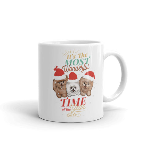 Pomeranian Christmas Mug. Designed by Denise. Unique and exclusive to PomWorld.com. - PomWorld.Com