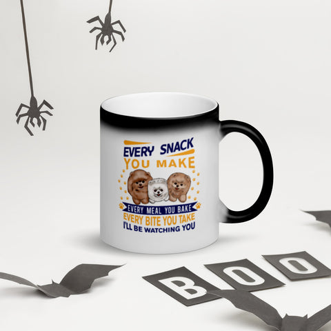 Every Snack You Make Pomeranian Matte Black Magic Mug - PomWorld.Com