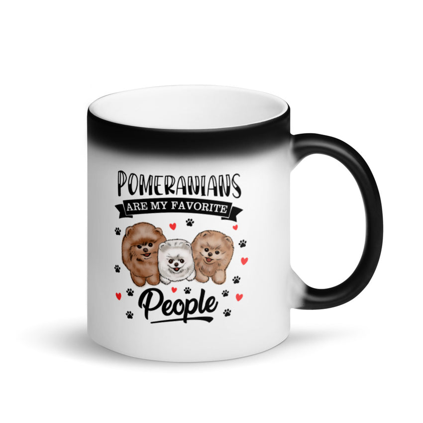 Pomeranians Are My Favorite People Matte Black Pomeranian Magic Mug