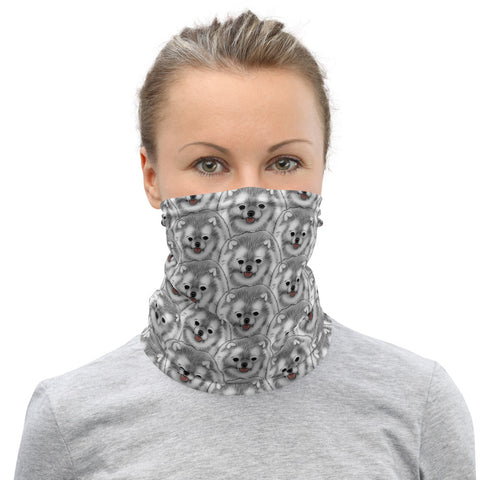 White Pomeranian Neck Gaiter - PomWorld.Com