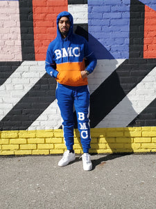2 Piece Pullover Jogging Suit Blue/Orange - Black Mentality Clothing