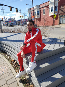 Red Rebel Fleece Tracksuit - Black Mentality Clothing