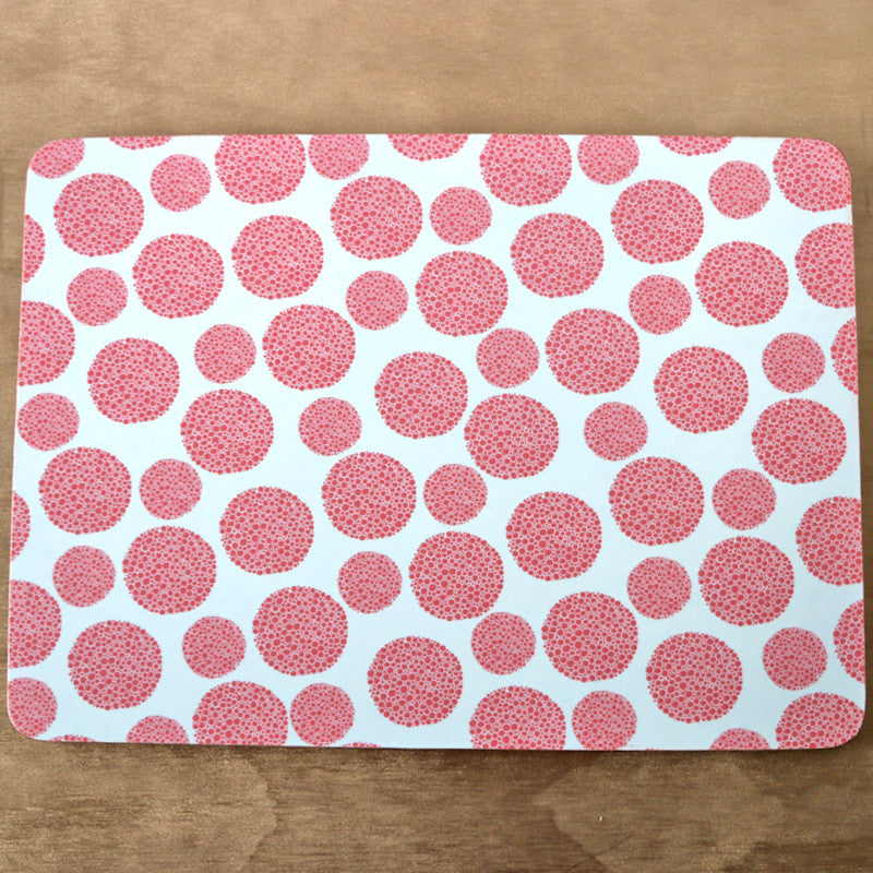 Rectangle serving board - coral dots